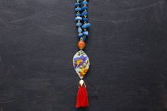 Colorful Floral Tin Tassel Necklace with Blue by MusingTreeStudios