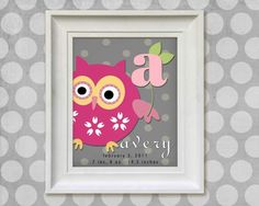 Childrens Owl Art Print - Personalized  8x10 Gray Polka Dots Baby Room Decor. $14.95, via Etsy.