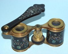 SUPERB RARE ANTIQUE FRENCH FAUX TORTOISESHELL MOTHER OF PEARL OPERA GLASSES