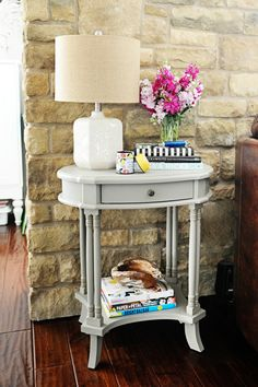 A petite side table, lamp and accessories from HomeGoods are the perfect way to lighten and brighten a small nook in your home with style and color. Post Sponsored by HomeGoods. Home Goods Decor, Home Decor Furniture, Purple Cabinets, Inspired Homes, Interiores Design, Living Room Decor, Living Area, Home And Living, Home Accessories