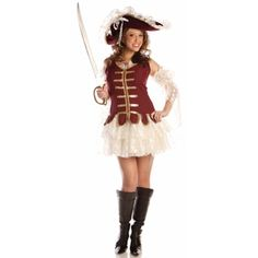 Our adult ladies sexy pirate outfit is the ideal sexy Halloween costume for women. This fashionable and modest dress is perfect for any pirate themed costume party. - Tank top mini dress - Attached la