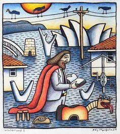 Reg Mombassa of Dog Trumpet has created 'The Australian Jesus' for a series of 10 limited edition greeting cards. Australian Painting, Australian Artists, National Art School, Acid Art, Surf Design, Surfboard Art, Iconic Australia, Contemporary Artists, Abstract Art