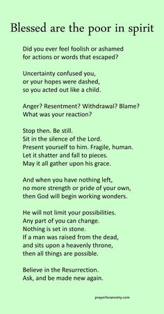 Blessed are the poor in spirit – Prayer For Anxiety Prayer Verses, Faith Prayer, Prayer Quotes, Faith Quotes, Wisdom Quotes, Quotes Quotes, Bible Verses, Lord's Prayer, Good Times Quotes