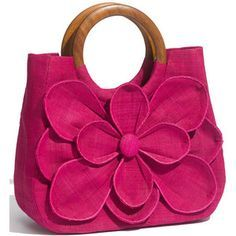 Alternate Image 1 Selected - Mar y Sol 'Guadalupe' Straw ShopperBold, three-dimensional blossom fronts a woven straw shopper handcrafted in Madagascar according to traditional weaving techniques. cool to do diff fabric petals; some sparkle/some patte Fabric Purses, Fabric Bags, Handmade Handbags, Handmade Bags, Cute Purses, Purses And Bags, Pink Purses, Purse For Teens, Diy Sac
