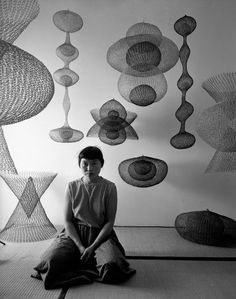 """Ruth Asawa One memory, of sunlight pouring through a dragonfly's translucent wing, was transmuted into the crocheted wire sculptures for which she first became known. """"I was interested in it because of the economy of a line, making something in space, enclosing it without blocking it out,"""" she explained. """"It's still transparent. I realized that if I was going to make these forms, which interlock and interweave, it can only be done with a line because a line can go anywhere."""" - NYTimes.com"""