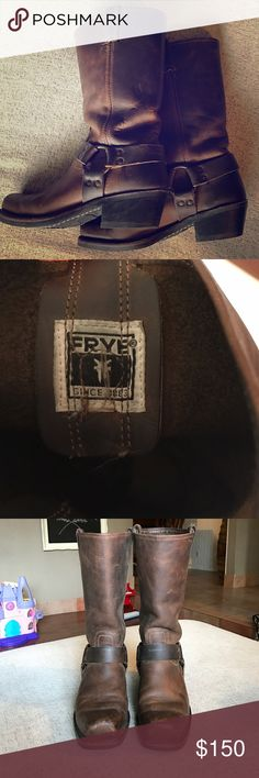 Frye Harness 12R boots :: size 9 Size nine, worn in brown leather (you're welcome 😘), but barely worn in soles! A beautiful pair of boots, timeless and comfortable. If you're familiar with Frye, you know this is a well made product! Frye Shoes Heeled Boots