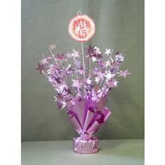 """""""Mis 15"""" Balloon Weight 1 ct Paper Leaves, Paper Flowers, Debut Giveaways, Balloon Weights, Ideas Para Fiestas, 15th Birthday, Centre Pieces, Fun Events, Balloons"""