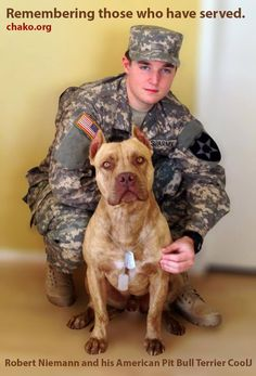 Remember those who have served. Thanks to Robert Neimann and his Pit Bull CoolJ.
