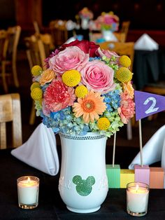 Vintage Disney Wedding Centerpiece- Soleil Flowers, Temecula CA
