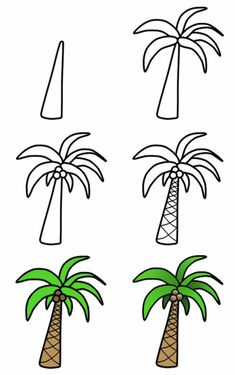 to draw palm trees A nice cartoon palm tree can easily be drawn using these six amazing steps! :)A nice cartoon palm tree can easily be drawn using these six amazing steps! Doodle Drawings, Cartoon Drawings, Cute Drawings, Drawing Sketches, Funny Easy Drawings, Easy Graffiti Drawings, Doodle Cartoon, Sketchbook Drawings, Cartoon Cartoon