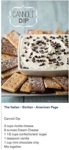 CANNOLI DIP recipe featured on DesktopCookbook. Ingredients for this CANNOLI DIP recipe include 15 oz Ricotta cheese, strained, 8 oz Mascarpone cheese , cup powdered sugar, and 1 cup heavy cream. Create your own online recipe box. Yummy Treats, Sweet Treats, Yummy Food, Dessert Dips, Dessert Recipes, Quick Dessert, Dinner Recipes, Cannoli Dip, Cannoli Cream