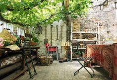 outdoor eating/garden workspace