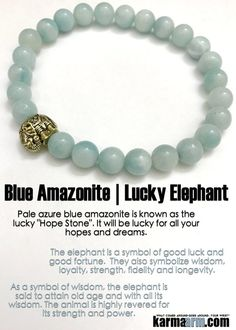 "Lucky Bracelets | Pale azure blue amazonite is known as the lucky ""Hope Stone"". #Elephant #BEADED #Keychain #Keyring #Gemstone #Mens #Good #Lucky #womens #Jewelry #Eckhart #Tolle #CrystalsEnergy #gifts #Chakra #reiki #Healing #Kundalini #Law #Attraction #LOA #Love #Mantra #Mala #Meditation #prayer #mindfulness #wisdom #CrystalEnergy #Spiritual #Gifts #ValentinesDay #Valentine #Valentines #Mommy #Blog #Fertility #Tony #Robbins #friendship #Stacks #Lucky"