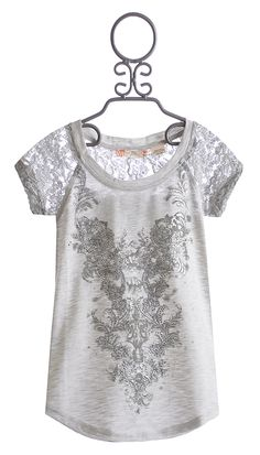 Miss Me Kids Trendy Top with Contrast in Lace