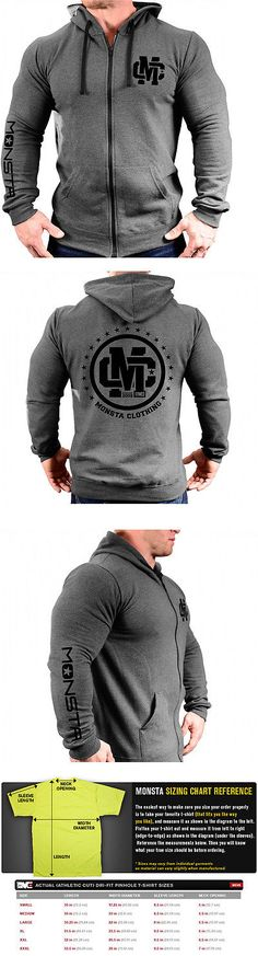 Shirts 59368: Monsta Clothing Zipper Hoodie For Gym, Workout, Bodybuilding - Gray / Black -> BUY IT NOW ONLY: $49.95 on eBay!