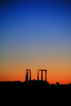 Poseidon Temple Sounion Greece at dusk by Makis Siderakis