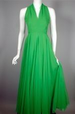 70s gown evening dress halter goddess green chiffon size xs