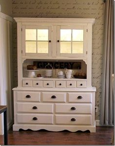 Painted hutch and look at the wall.
