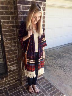 Joy Instagram, Fringe Cardigan, Border Print, Kimono Top, Peace, Boutique, Orange, How To Make, Clothes