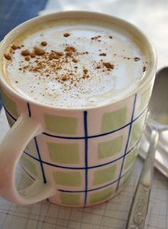 Homemade Pumpkin Spice Latte     Ingredients:   3 cups whole milk, warmed   1 Tbsp. sugar, or to taste   1/2 tsp. vanilla   1/2 tsp. pumpkin pie spice   3/4-1 cup double-strength brewed coffee lightly whipped cream   a shake of pumpkin pie spice