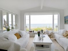 White on white...great way to keep your interior from competing with the view!