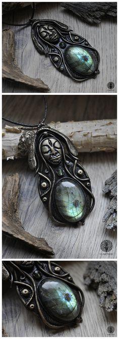#goddess #fairytale #magic #magical #labradorite #glassbeads #polymerclay #jewelry #handmade #ooak #unique #pendant #sculpture #gemstone