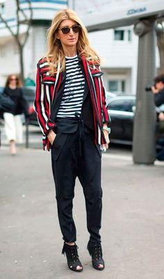 Street style look com blazer listrado