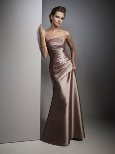Sheath/Column Taffeta Strapless Natural Waist Floor-Length Sleeveless Ruching Brown Bridesmaid Dress