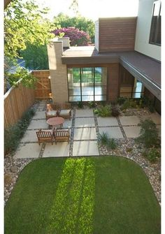 A little plain, but I like the concrete squares and grass patch