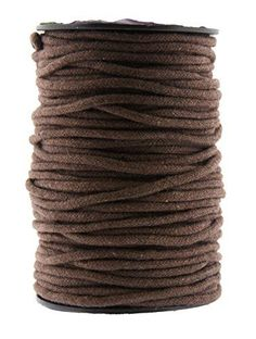 Mandala Crafts 3mm 50 Yards Unglazed Natural Cotton Soft Crochet Piping Macram Cord Tie Rope Spool Brown -- Details can be found by clicking on the image.