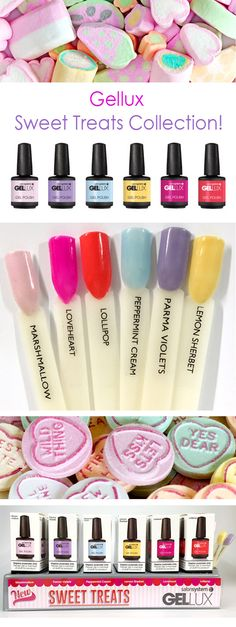New Gellux Sweet Treats Collection! Gel Polish - Lemon Sherbet - Parma Violets - Peppermint Cream - Lollipop - Loveheart - Marshmallow