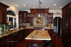 dark kitchen cabinets with gold granite | Kitchen Backsplash Tiles, Ideas, Designs + Pictures - Backsplashes for ...