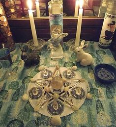 "Altars: Full ""Snow Moon"" Altar, from the Witch's Cauldron."