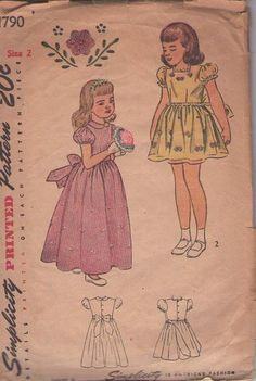 MOMSPatterns Vintage Sewing Patterns - Simplicity 1790 Vintage 40's Sewing Pattern LOVELY Girls Back Buttons Puff Sleeve Party Dress, Flower Girl Long Gown, Embroidery Transfer Size 2