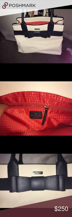 Kate Spade Deihl Tote Brand new, pristine beautiful Kate Spade tote. It was carried for one day but just found it too large for personal preference. The bow is technically a deep navy blue but my eyes see it black, even in person. It has been sitting slumped over in the closet so it has a fold in the buttery leather but carrying it will remove the fold. kate spade Bags Totes