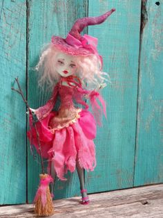 Pink Witch Monster High Frankie doll repaint by by Marinart