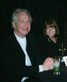 """Alan Rickman and Rima Horton at the London premiere of """"Harry Potter and the Deathly Hallows: Part July 2011 (with his nieces who were cropped out of picture) Alan Rickman Always, Miss U So Much, Alan Rickman Severus Snape, Love Actually, Ares, Falling In Love With Him, Half Blood, British Actors, My People"""