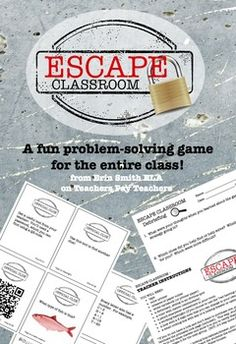 "Modeled after the popular ""Escape"" games in many cities around the country, this classroom version prompts students to work together as a class to solve puzzles, connect the clues, and crack the code! This is a great activity for the first week of school to encourage teamwork and help students get to know each other and the classroom."