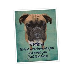 A FRIEND Modern Boxer Dog Art Print Gift By JaneAndCompanyDesign, $20.00