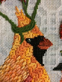 Vicki Sawyer bird needlepoint, canvas from Melissa Shirley Needlepoint Designs, Needlepoint Stitches, Needlepoint Canvases, Needlework, Sewing Stitches, Cross Stitch Embroidery, Cross Stitch Patterns, Bird Embroidery, Cross Stitching