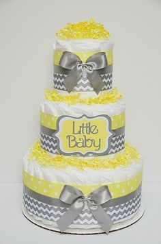 Gray and Yellow Chevron Little Baby Diaper by LanasDiaperCakeShop