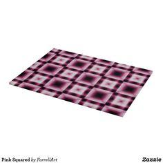 Pink Squared Cutting Board Glass Cutting Board, Cutting Boards, Cheese Trays, Custom Glass, Corner Designs, Kitchen Decor, Pink, Pink Hair, Cutting Board