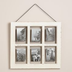 Our White Vintage 6-Photo Frame has a unique style that showcases six 4x6 photos as if they were floating in each pane.