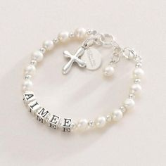 Luxury Name Bracelet for Christening or First Holy Communion Gift, Real Silver