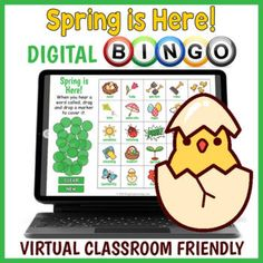 Digital Spring Themed Vocabulary BINGO Game by Drag Drop Learning Fun Classroom Activities, Interactive Board, Elementary Counseling, Educational Games For Kids, Bingo Games, Ready To Play, Spring Is Here, Vocabulary Words, Classroom Management