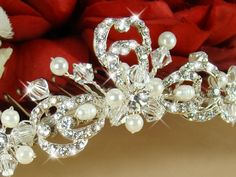 Pearl and Rhinestone Bridal Headpiece this is a gorgeous tiara.