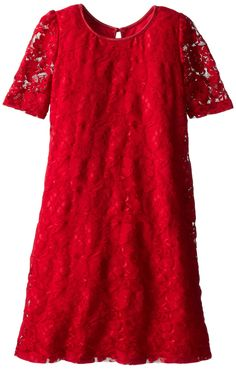 Ruby Rox Big Girls' 3/4 Sleeve Allover Lace Dress, Cherry, Large