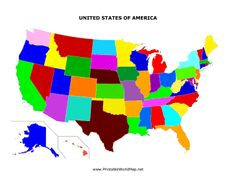 The United States Has Different Colored States In This Printable Country Map That S Great For Students
