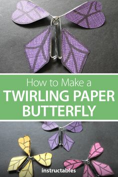 How to Make a Twirling Paper Butterfly With paper, paperclips, and a rubber binder you can m make a twirling butterfly that will fly out of a greeting card after being twisted up and trapped inside. Flying Butterfly Card, Diy Butterfly, Butterflies Flying, Paper Butterflies, Butterfly Project, Flying Card, Paper Butterfly Crafts, Paper Flowers, Creative Crafts