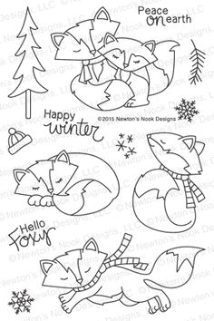 Our sweet fox is dressed for cold weather in a scarf and hat. These cute little foxy friends will make the most adorable winter and holiday cards. Add in the tree and snowflakes to create cute little